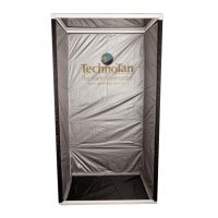 TechnoTan Semi Permanent Booth — Black curtain, vinyl floor