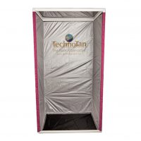 TechnoTan Semi Permanent Booth - Pink curtain, vinyl floor