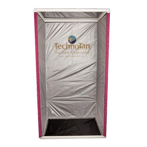 TechnoTan Semi Permanent Booth - Pink curtain, vinyl floor